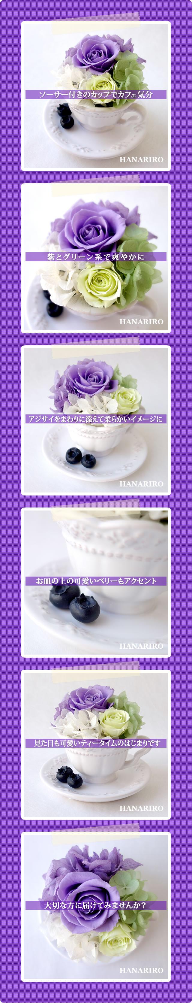 アレンジ「ベリーカフェ(紫)」/プリザーブドフラワーギフト
