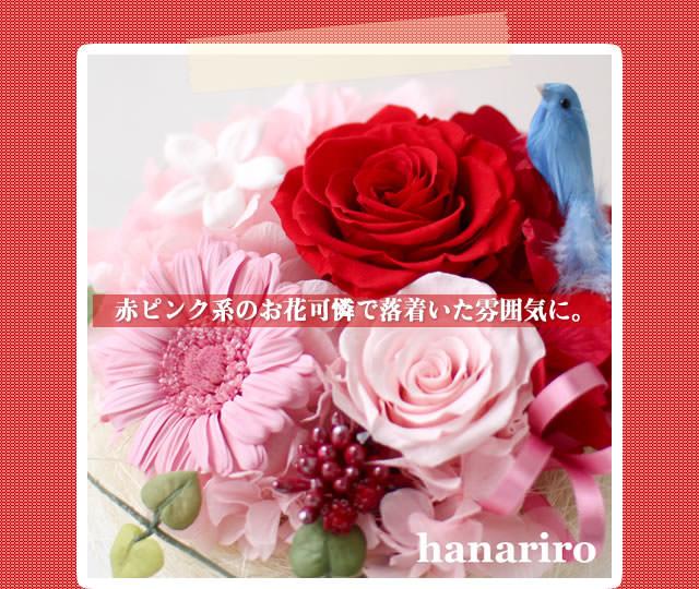 アレンジ「幸せの青い鳥(赤ピンクL)」/プリザーブドフラワーギフト
