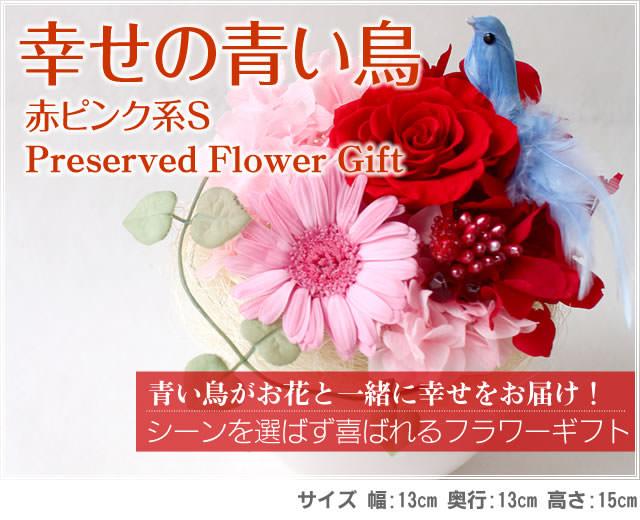 アレンジ「幸せの青い鳥(赤ピンクS)」-プリザーブドフラワーギフト-花屋-フラワーギフト-インターネット宅配花屋さん花RiRo