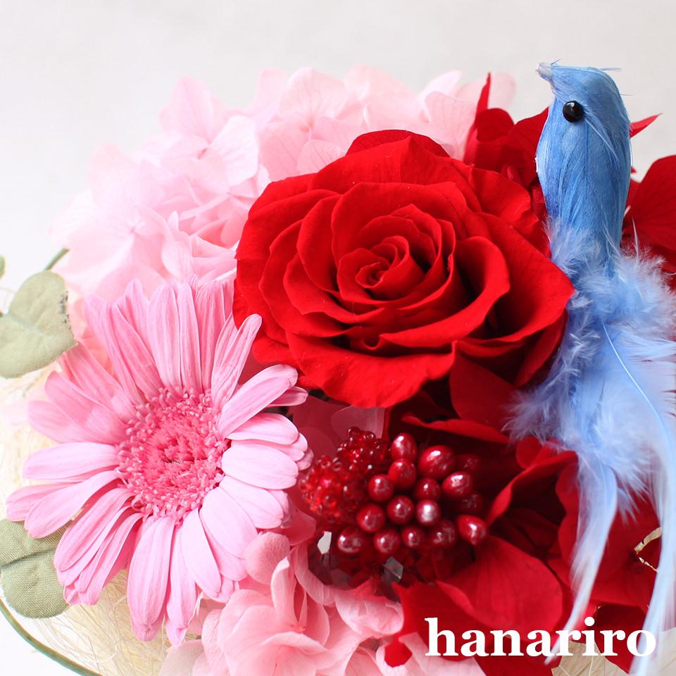 アレンジ「しあわせの青い鳥(赤ピンクS)」