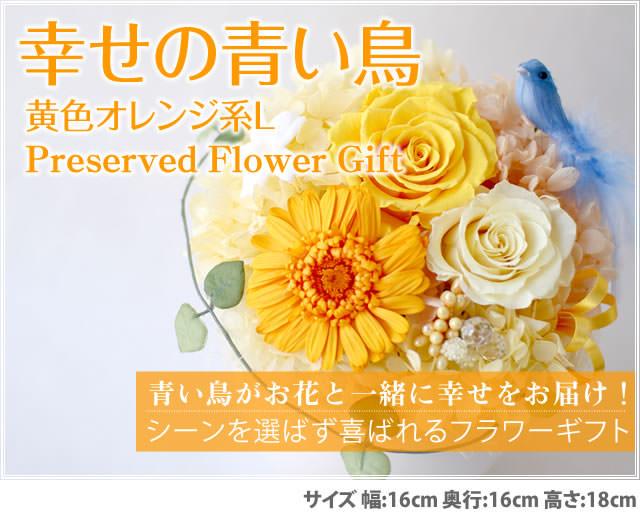 アレンジ「幸せの青い鳥(黄色オレンジL)」-プリザーブドフラワーギフト-花屋-フラワーギフト-インターネット宅配花屋さん花RiRo