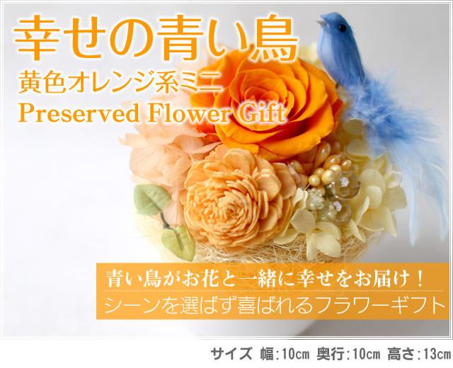 アレンジ「幸せの青い鳥(黄色オレンジミニ)」-プリザーブドフラワーギフト-花屋-フラワーギフト-インターネット宅配花屋さん花RiRo
