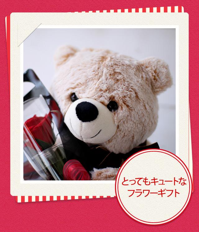 アレンジ「クマさんと一輪の薔薇」/プリザーブドフラワーギフト