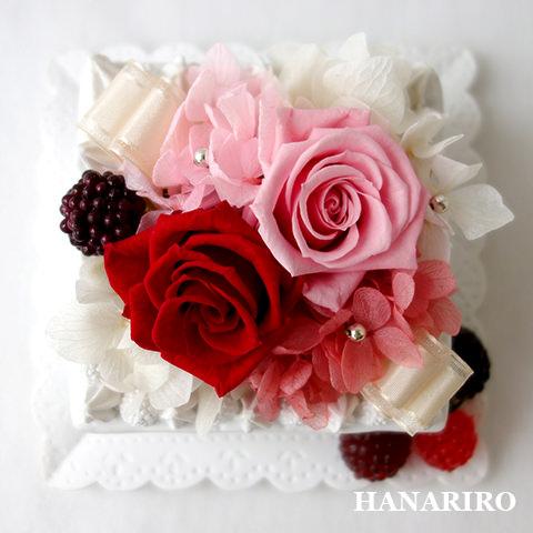 アレンジ「ケーキアレンジ(赤ピンク)(クリアケース入)」