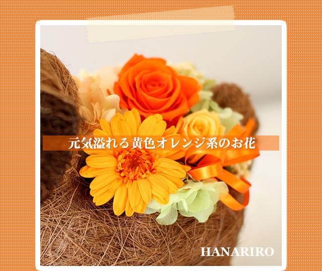 アレンジ「ワンちゃんのバスケットアレンジ」/プリザーブドフラワーギフト