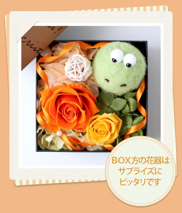 アレンジ「カエルさんのBOXアレンジ」/プリザーブドフラワーギフト