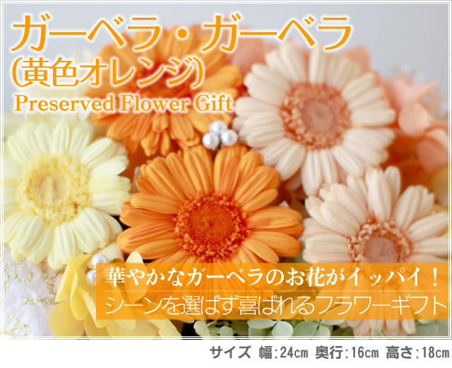 アレンジ「ガーベラ・ガーベラ(黄色オレンジ)」-プリザーブドフラワーギフト-花屋-フラワーギフト-インターネット宅配花屋さん花RiRo
