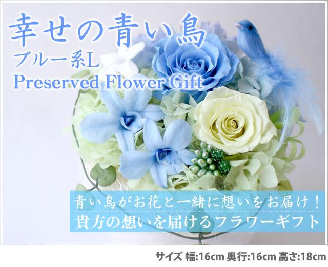 アレンジ「幸せの青い鳥(ブルーL)」-プリザーブドフラワーギフト-花屋-フラワーギフト-インターネット宅配花屋さん花RiRo