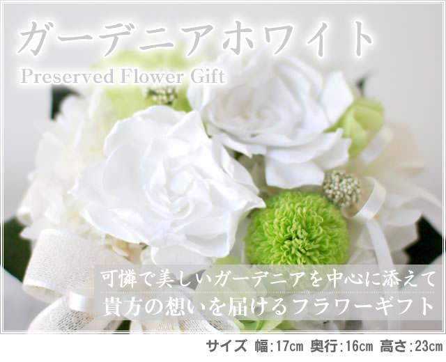アレンジ「ガーデニアホワイト」-プリザーブドフラワーギフト-花屋-フラワーギフト-インターネット宅配花屋さん花RiRo