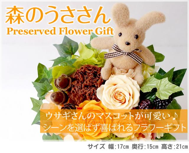アレンジ「森のうささん」-プリザーブドフラワーギフト-花屋-フラワーギフト-インターネット宅配花屋さん花RiRo