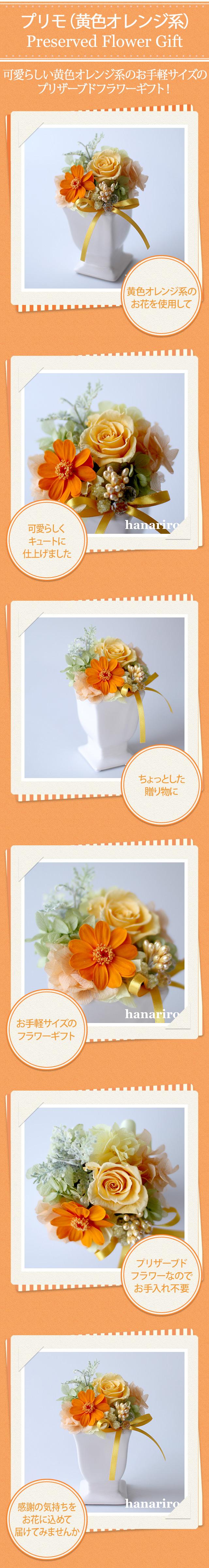 アレンジ「プリモ(黄色オレンジ系)」/プリザーブドフラワーギフト