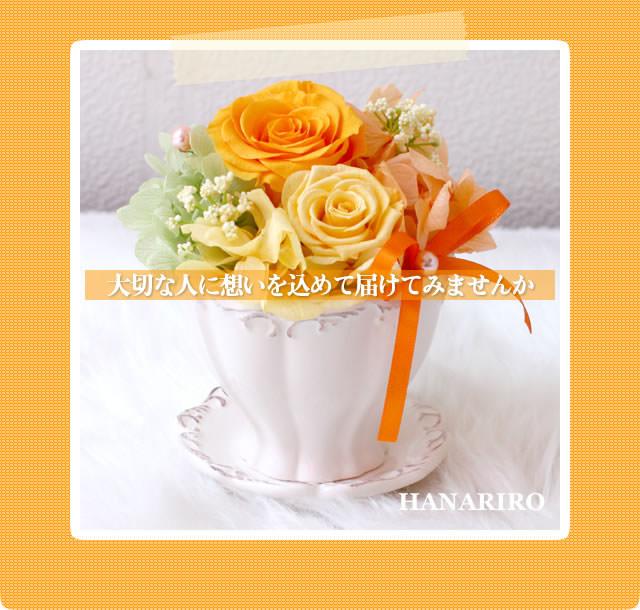 アレンジ「プリカフェ(黄色オレンジ)」/プリザーブドフラワーギフト